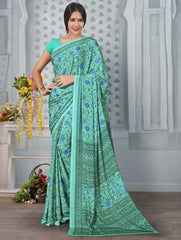 Sea Green Color Crepe Office Wear Sarees : Tanuja Collection  YF-45320