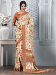 Cream And Orange Color Crepe Office Wear Sarees : Tanuja Collection  YF-45321