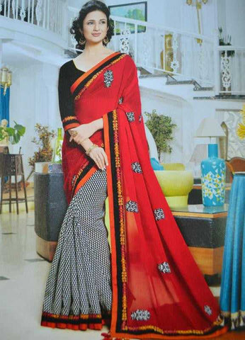 Red and Black Color Georgette Designer Sarees : Ishita Collection  YF-23684