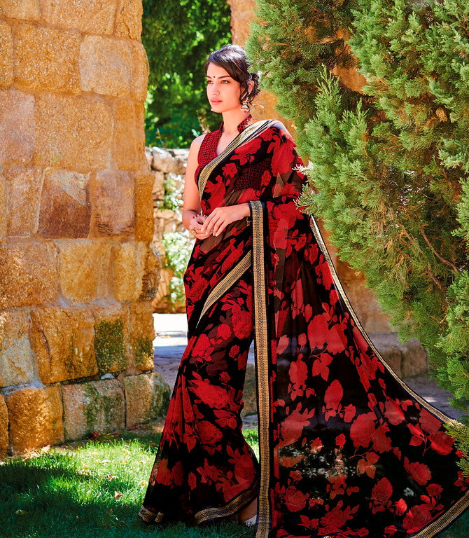 Red and Black Color Georgette Casual Wear Saree -Ladli Bahu  Collection  YF#11280