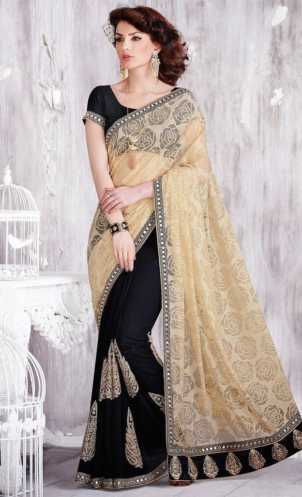 Cream & Black Color Half Net & Half Raw Silk Designer Festive Sarees : Karini Collection  NYF-1245 - YellowFashion.in