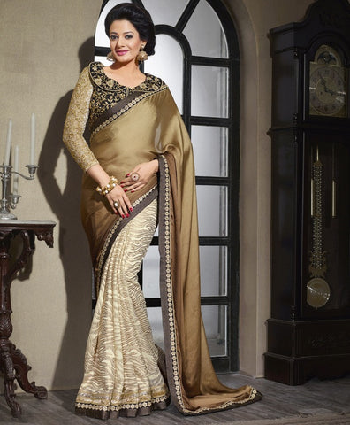 Cream & Copper Color Wrinkle Chiffon Wedding & Function Wear Sarees : Satkar Collection  YF-32026