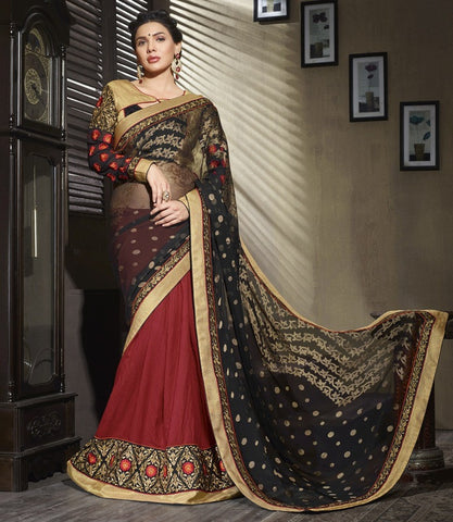Black & Red Color Half Georgette Brasso & Half Bhagalpuri Wedding & Function Wear Sarees : Satkar Collection  YF-32030