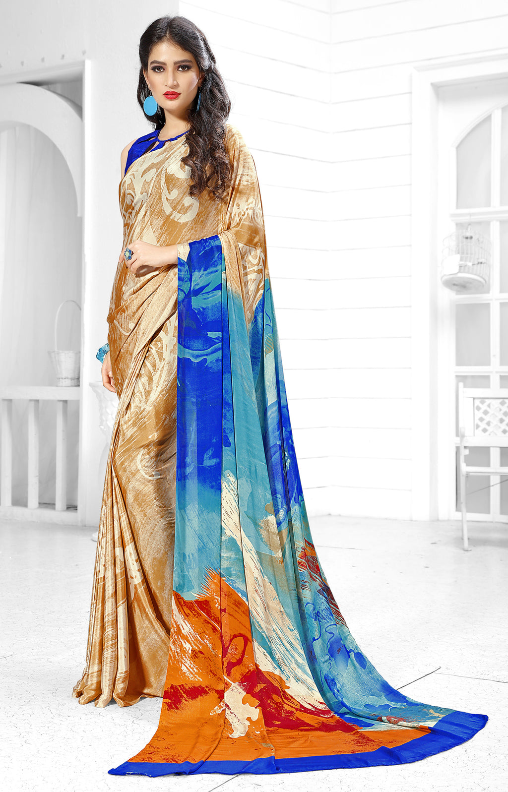 Multi Color Crepe  Digital Print Kitty Party Sarees NYF-8147