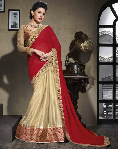 Red & Light Golden Color Shimmer Georgette Foil Wedding & Function Wear Sarees : Satkar Collection  YF-32037