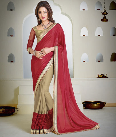 Red  & Light Coffee Color Half Shimmer Georgette Foil & Half Wrinkle Chiffon Wedding & Function Wear Sarees : Satkar Collection  YF-32040