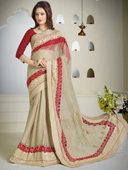 Cream Color Half Net & Half Brasso Wedding & Function Wear Sarees : Satkar Collection  YF-32044