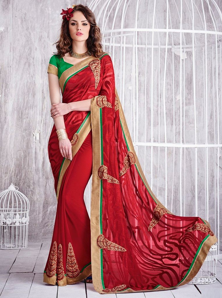 Red Color Chiffon Designer Festive Sarees : Karini Collection  NYF-1246 - YellowFashion.in
