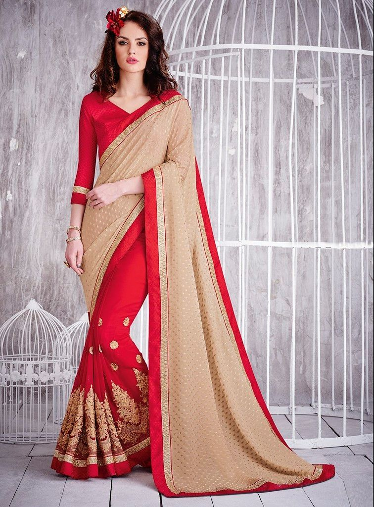 Cream & Red Color Chiffon Designer Festive Sarees : Karini Collection  NYF-1248 - YellowFashion.in