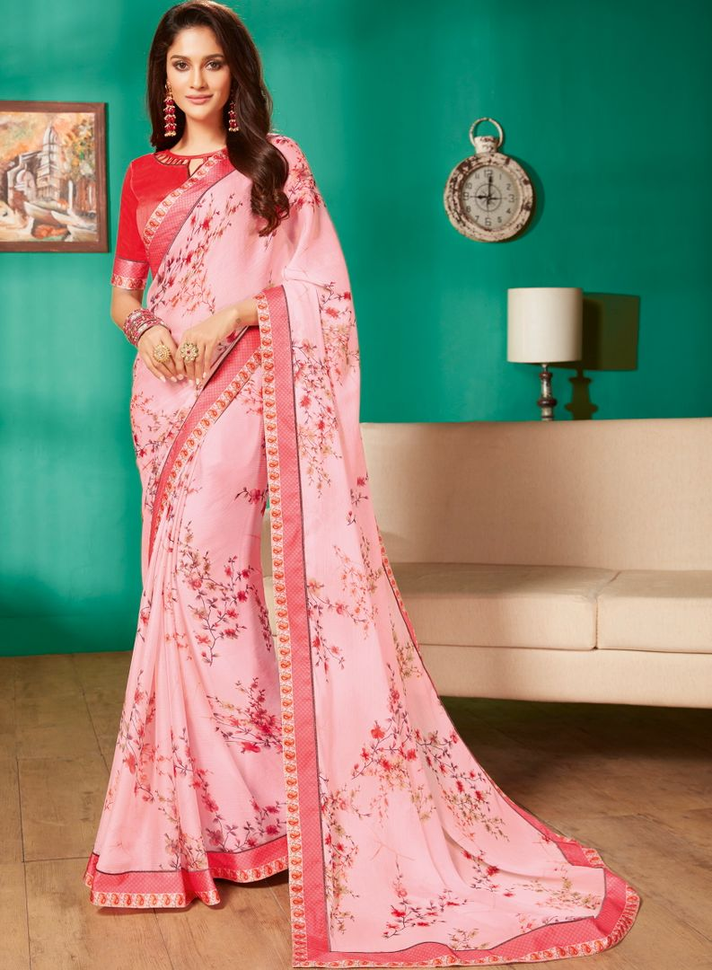 Baby Pink Color Chiffon Pretty Casual Sarees NYF-4971
