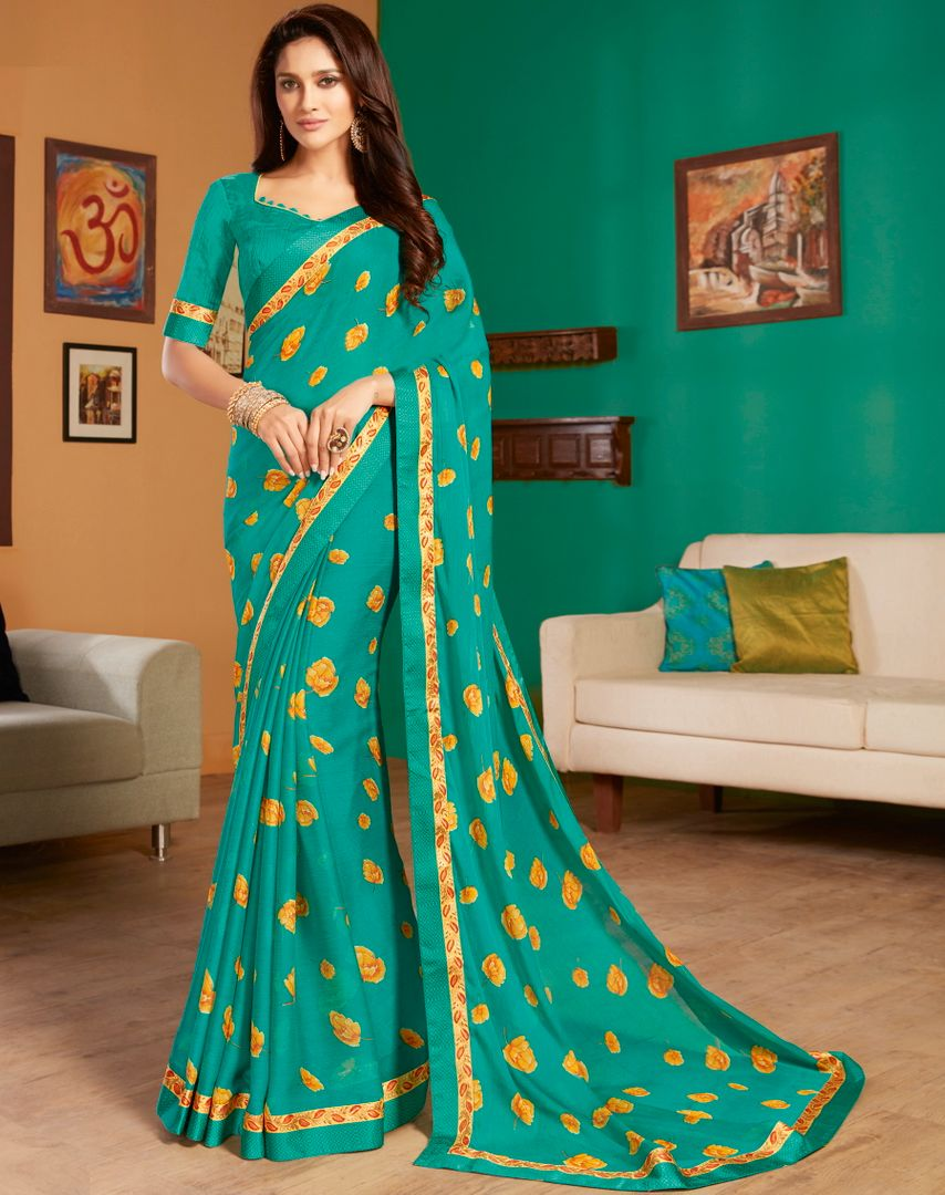 Rama Green Color Chiffon Pretty Casual Sarees NYF-4972