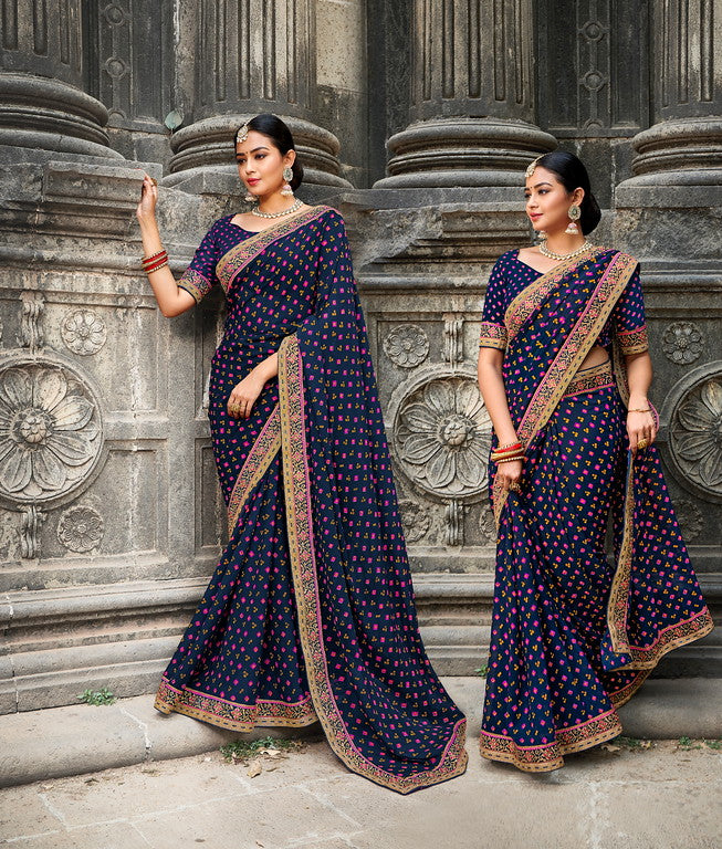 Blue and Pink Color Georgette Bandhej Saree -Chandrokhani  Collection  YF#11162