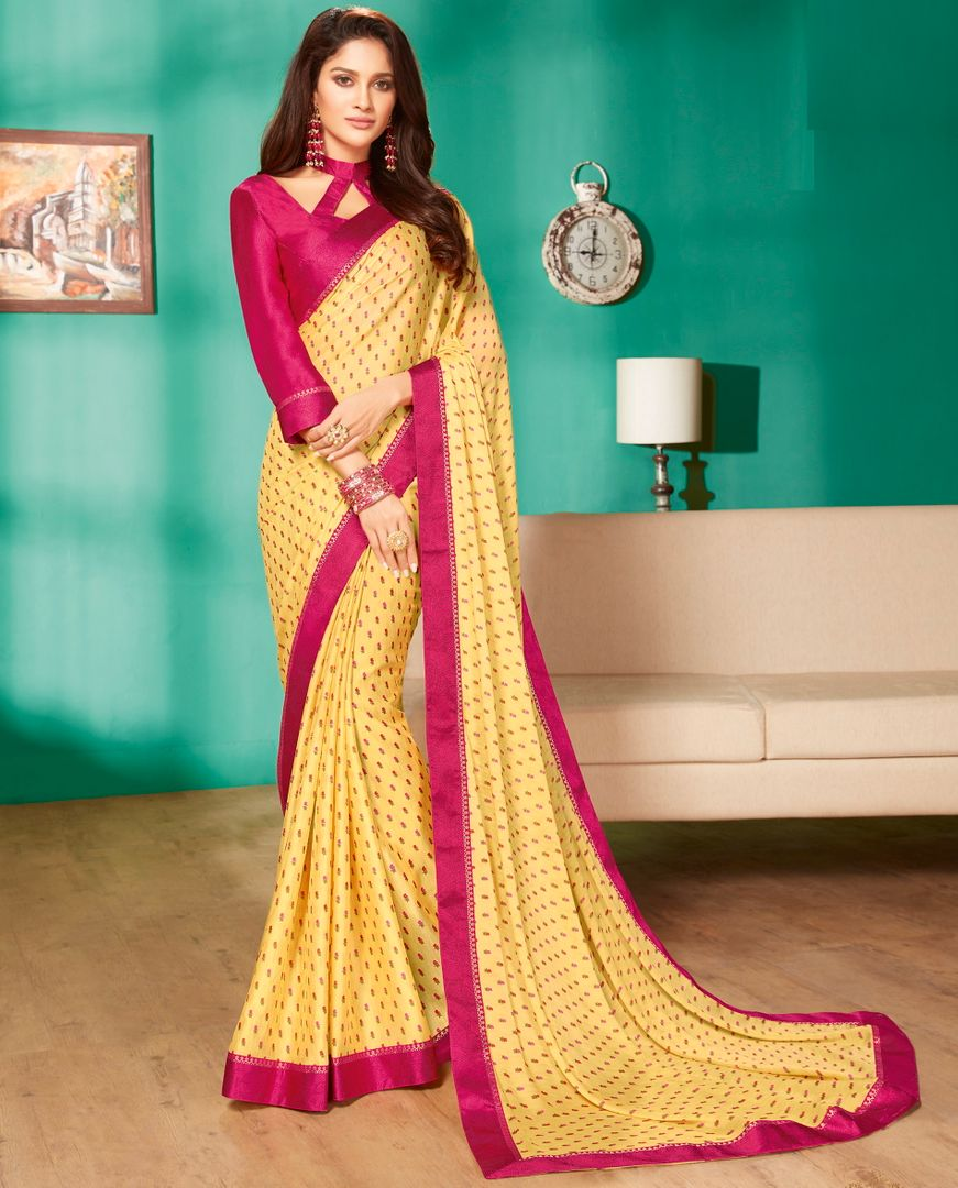 Yellow Color Crepe Georgette Pretty Casual Sarees NYF-4973