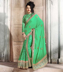 Green Color Half Smart Net & Half Georgette Festival & Function Wear Sarees : Parth Collection  YF-36662