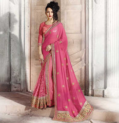 Pink Color Half Smart Net & Half Georgette Festival & Function Wear Sarees : Parth Collection  YF-36664