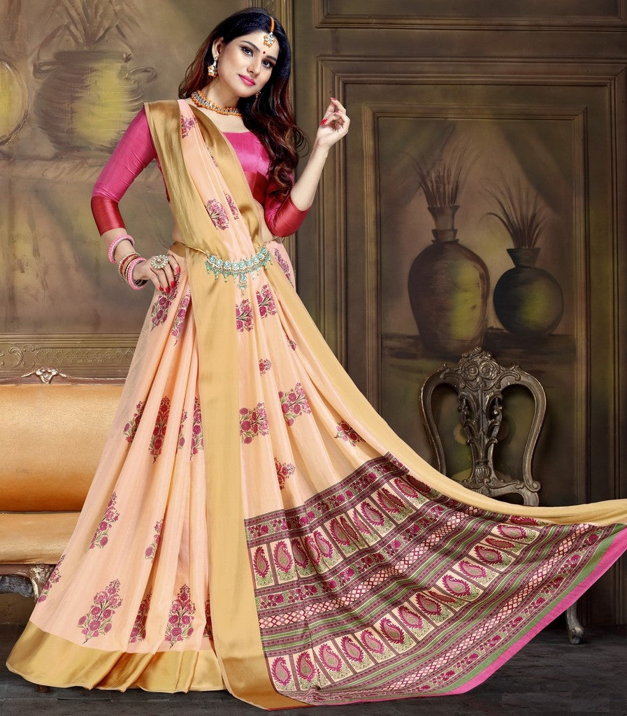 Peach Color Raw Silk Festive Party Wear Sarees : Parimisha Collection  NYF-1115 - YellowFashion.in