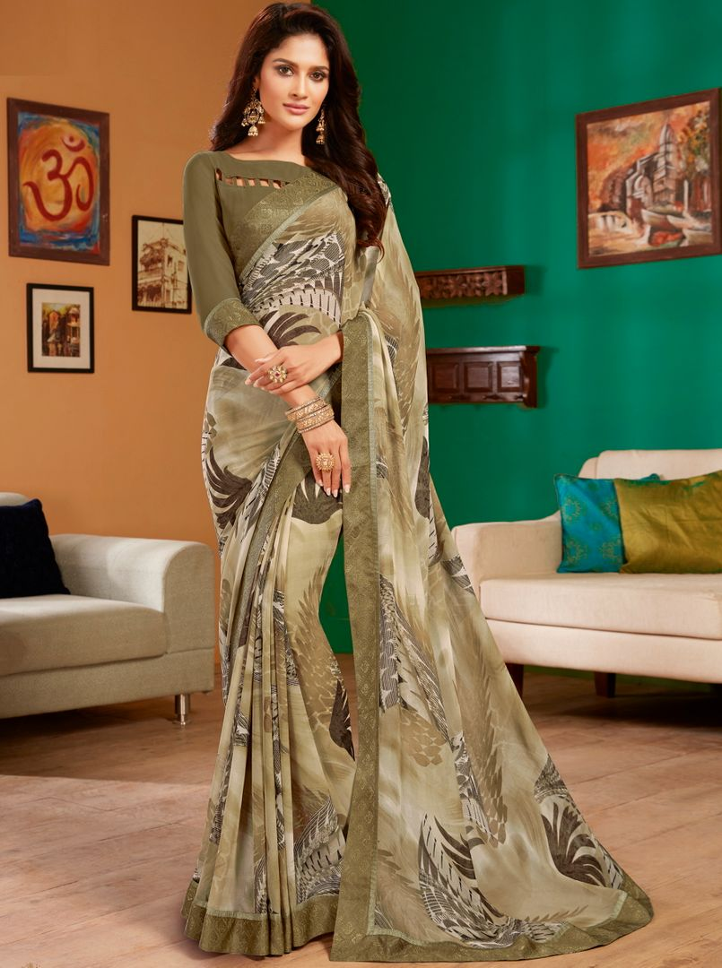 Shades Of Mud Color Georgette Pretty Casual Sarees NYF-4974