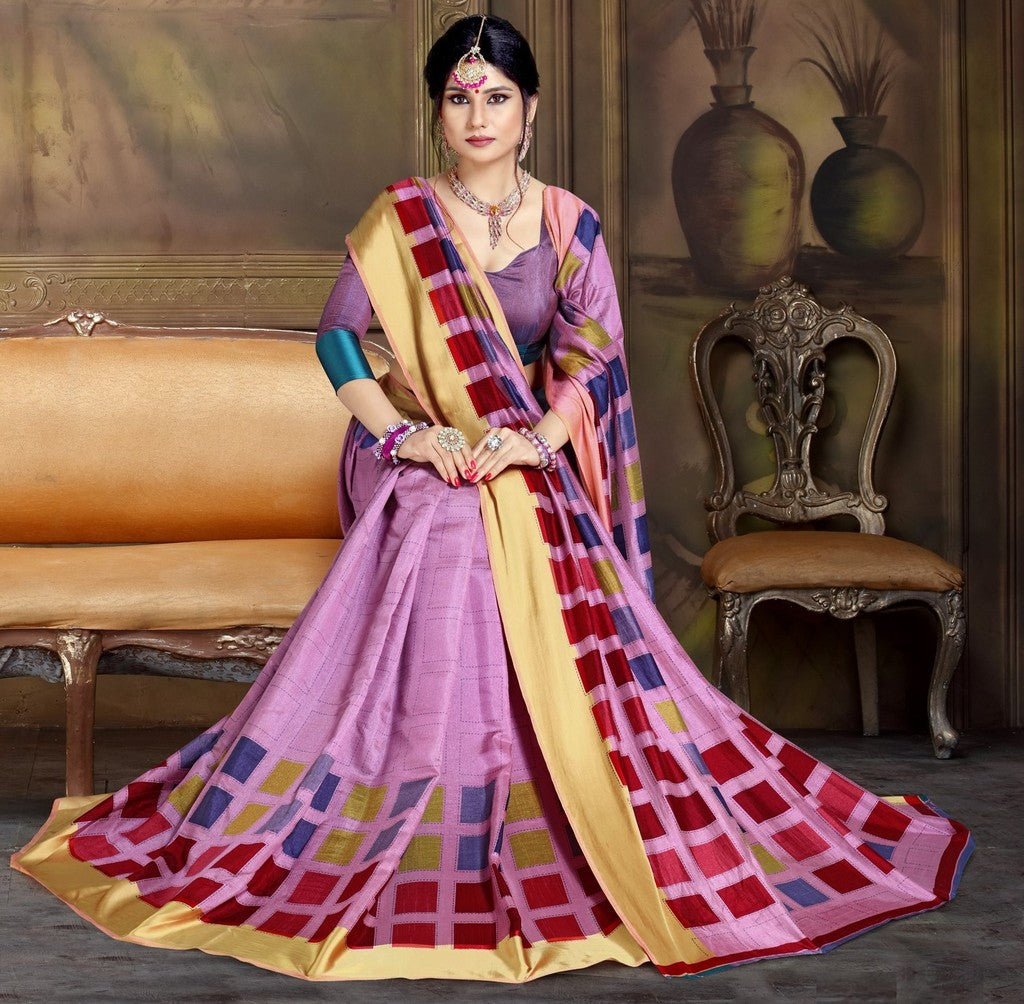 Lavender Color Raw Silk Festive Party Wear Sarees : Parimisha Collection  NYF-1116 - YellowFashion.in
