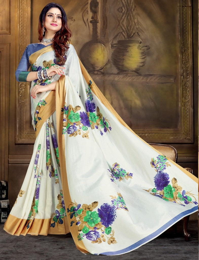 White Color Raw Silk Festive Party Wear Sarees : Parimisha Collection  NYF-1117 - YellowFashion.in
