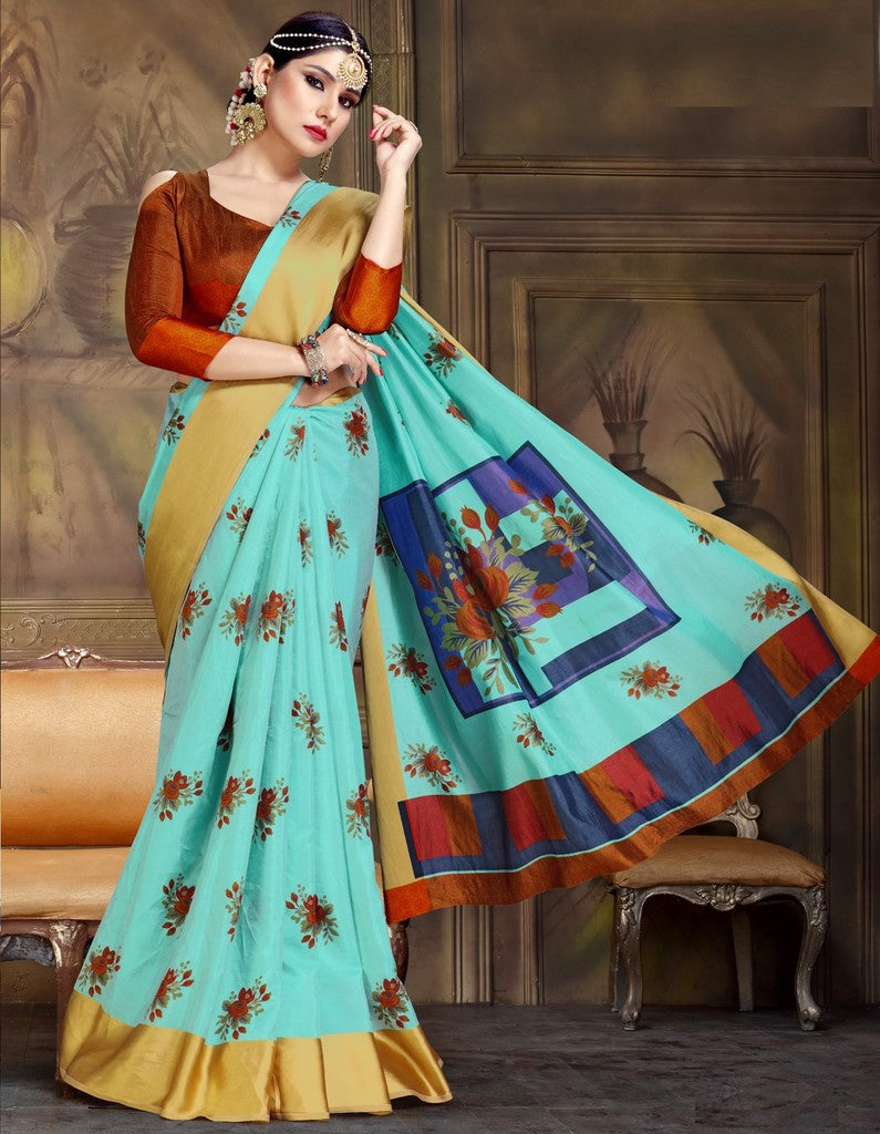 Sea Green Color Raw Silk Festive Party Wear Sarees : Parimisha Collection  NYF-1118 - YellowFashion.in