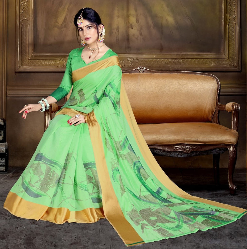 Green Color Raw Silk Festive Party Wear Sarees : Parimisha Collection  NYF-1119 - YellowFashion.in