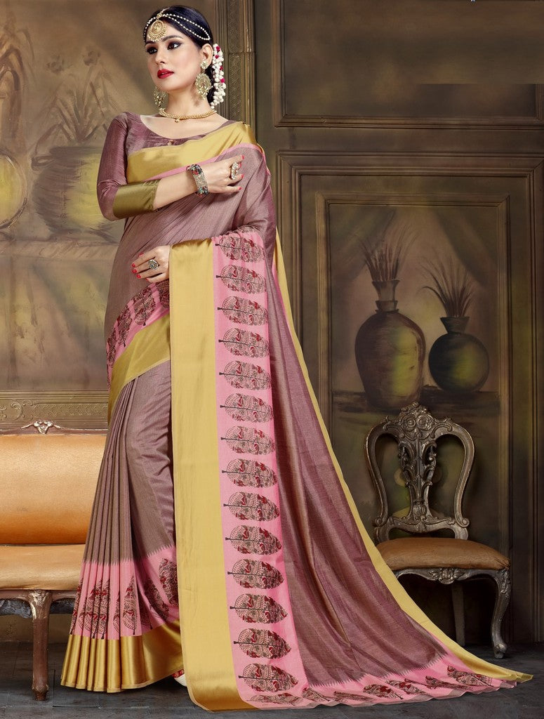 Burgandy Color Raw Silk Festive Party Wear Sarees : Parimisha Collection  NYF-1120 - YellowFashion.in
