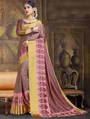 Burgandy Color Raw Silk Festive Party Wear Sarees : Parimisha Collection  NYF-1120