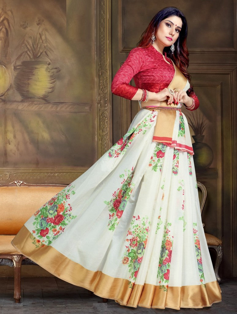 White Color Raw Silk Festive Party Wear Sarees : Parimisha Collection  NYF-1128 - YellowFashion.in
