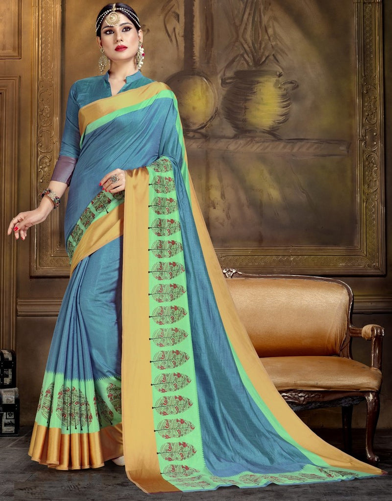 Blue Color Raw Silk Festive Party Wear Sarees : Parimisha Collection  NYF-1129 - YellowFashion.in