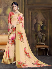 Peach Color Raw Silk Festive Party Wear Sarees : Parimisha Collection  NYF-1130