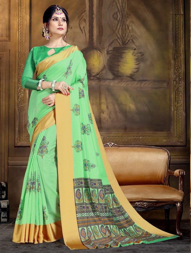 Green Color Raw Silk Festive Party Wear Sarees : Parimisha Collection  NYF-1131 - YellowFashion.in