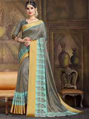 Grey Color Raw Silk Festive Party Wear Sarees : Parimisha Collection  NYF-1134