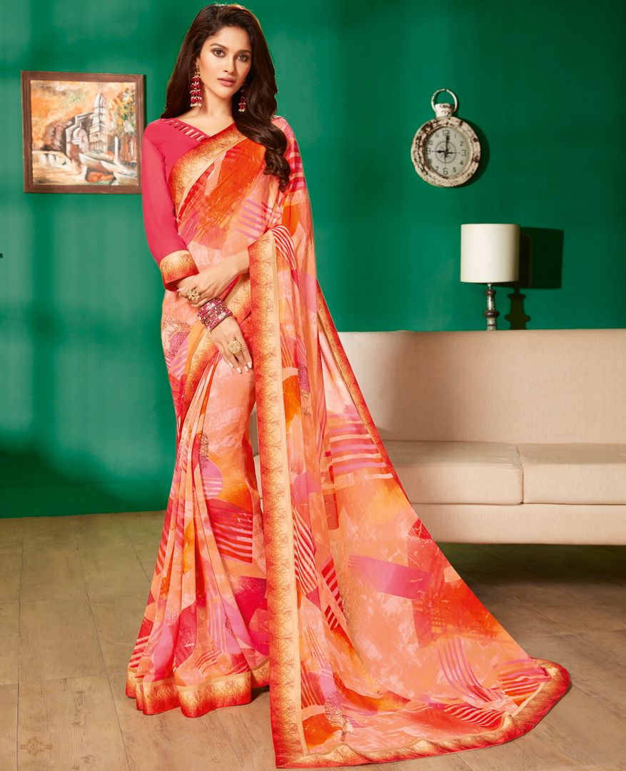 Peach Color Georgette Pretty Casual Sarees NYF-4976
