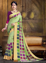 Green Color Raw Silk Festive Party Wear Sarees : Parimisha Collection  NYF-1139