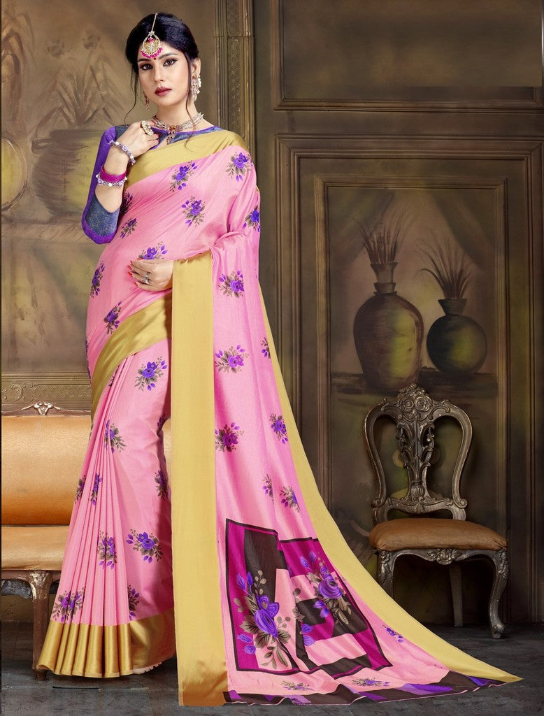 Pink Color Raw Silk Festive Party Wear Sarees : Parimisha Collection  NYF-1140 - YellowFashion.in