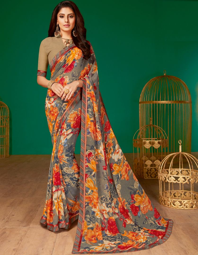 Grey Color Chiffon Pretty Casual Sarees NYF-4977