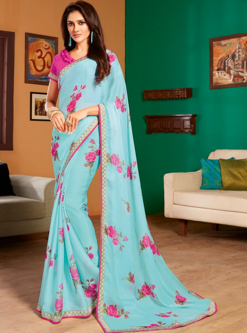 Aqua Blue Color Chiffon Pretty Casual Sarees NYF-4978