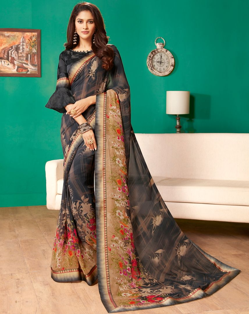 Black Color Georgette Pretty Casual Sarees NYF-4979