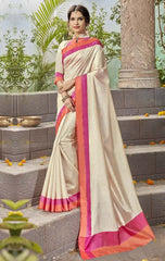 Cream & Orange Color Kochampalli Silk Festive Wear Sarees : Tarli Collection  YF-50212