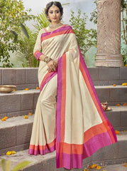 Cream & Pink Color Kochampalli Silk Festive Wear Sarees : Tarli Collection  YF-50215