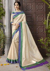 Cream & Blue Color Kochampalli Silk Festive Wear Sarees : Tarli Collection  YF-50216