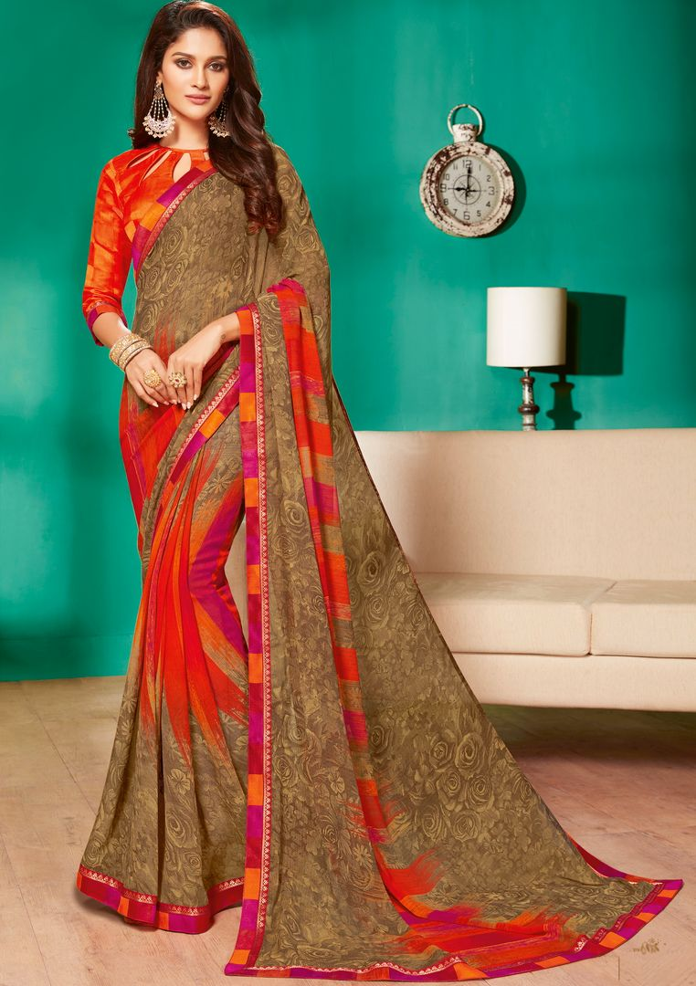 Beige Color Georgette Pretty Casual Sarees NYF-4980