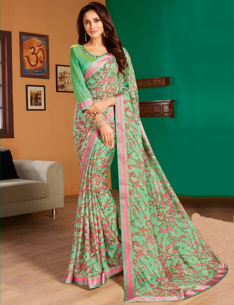 Sea Green Color Chiffon Pretty Casual Sarees NYF-4981