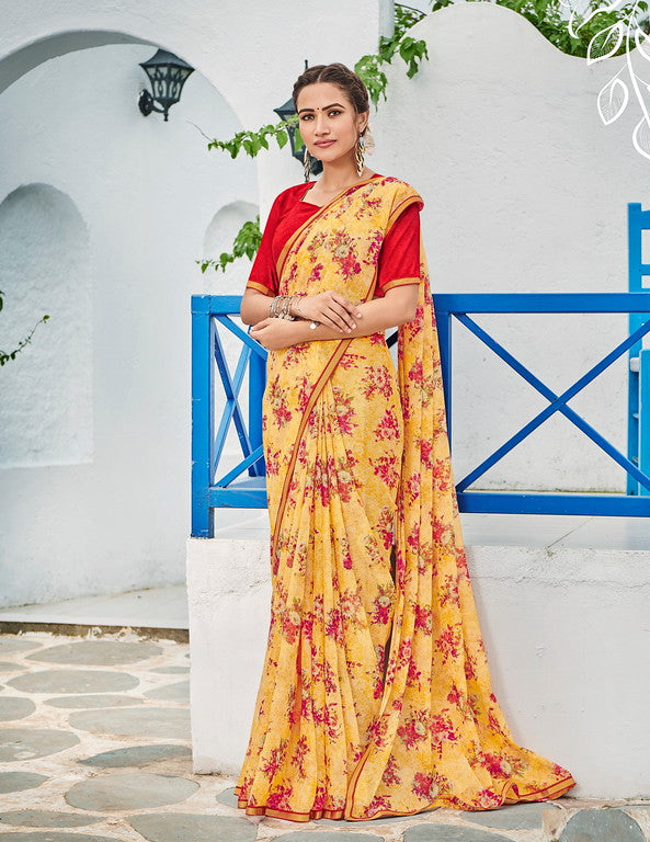 Yellow and Red Color Georgette Kitty Party Wear Saree - Idika Collection YF#11107