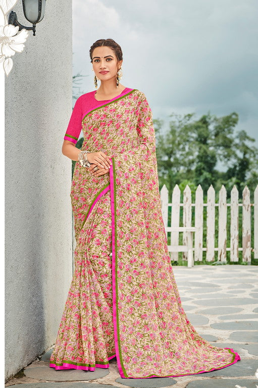 Off white, Pink and Green Color Georgette Kitty Party Wear Saree - Idika Collection YF#11110