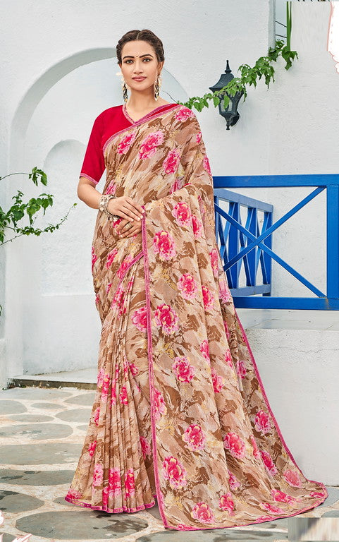 Shades of Brown and Pink Color Georgette Kitty Party Wear Saree - Idika Collection YF#11119