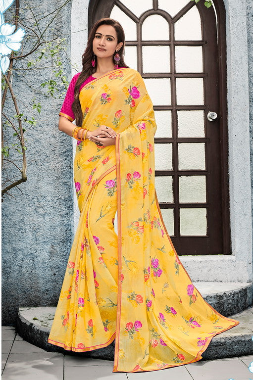 Yellow and Pink Color Georgette Kitty Party Wear Saree - Idika Collection YF#11120