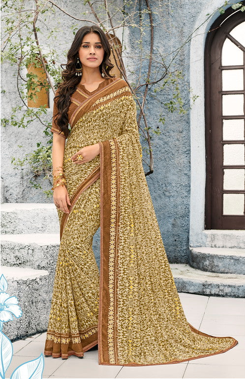 Mehendi Green and Brown Color Georgette Kitty Party Wear Saree - Idika Collection YF#11122