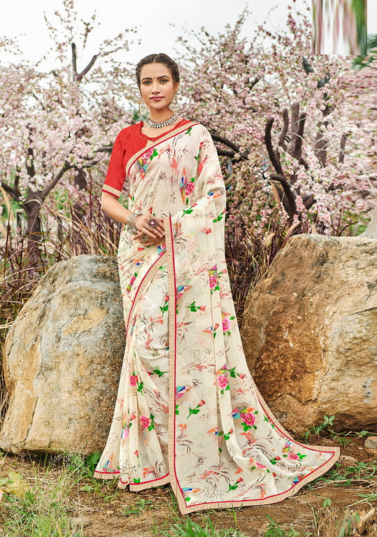 Off white and Red Color Georgette Kitty Party Wear Saree - Idika Collection YF#11123