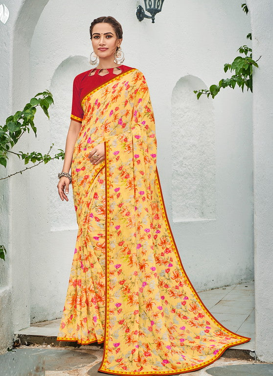 Yellow and Red Color Georgette Kitty Party Wear Saree - Idika Collection YF#11124
